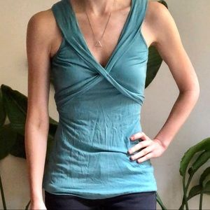 BR crossover v-neck wrap top dusty blue
